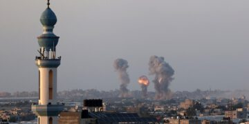 Smoke and flames rise after an Israeli airstrike iin the southern Gaza Strip, amid the most intense Israeli-Palestinian hostilities in seven years. May 12, 2021. Photo by Abed Rahim Khatib/Flash90