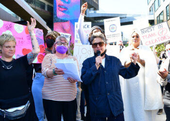 LOS ANGELES, CALIFORNIA - OCTOBER 20: Writer-director Jill Soloway speaks as trans employees and allies at Netflix walkout in protest of Dave Chappelle special on October 20, 2021 in Los Angeles, California. Netflix has decided to air Chappelle's special, which contains jokes about transgender people, even though some employees have voiced concerns they feel have been ignored by the company. (Photo by Rodin Eckenroth/Getty Images)